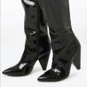 Faux Patent Leather Thigh-High Boots 6